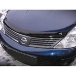 Дефлектор капота BREEZE темный (мухоотбойник) Nissan Tiida C11 '07-11 (Ниссан Тиида C11)