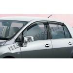 Дефлекторы боковых окон (ветровики) темные 4 шт Nissan Tiida (хетчбек/седан) 07- (Ниссан Тиида C11)