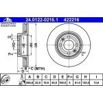 Диск тормозной передний (ATE) Nissan Mikra K12 '03- / Note E11 / Almera G15 (Ниссан Ноут E11)