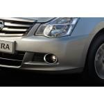 Накладки на противотуманные фары хромированные Nissan Almera '2013- (Ниссан Альмера G15 Новая)