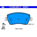 Колодки тормозные передние (ATE) Nissan Micra k12 '03-10 / Note E11E '06-/ Almera G15 '2013- (Ниссан Ноут E11)