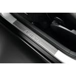 Накладки на передние пороги (металл-хром) 2шт. Nissan Almera '2013- (Ниссан Альмера G15 Новая)