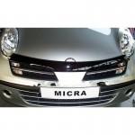 Дефлекторр капота (мухоотбойник) темный Nissan Micra 2011- (Ниссан Микра K12)